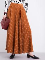 Diane von Furstenberg Polka dot-print mid-rise silk maxi skirt