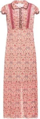 Anna Sui Ruched Metallic Printed Fil Coupe Chiffon Maxi Dress