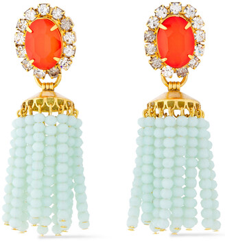 Elizabeth Cole 24-karat Gold-plated, Crystal, Stone And Beaded Tassel Earrings