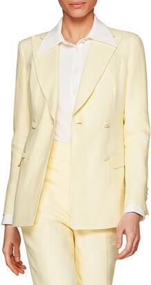 SUISTUDIO Cameron Double Breasted Linen Suit Jacket