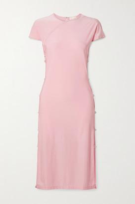 MARCIA Tchikiboum Cutout Crystal-embellished Stretch-econyl Midi Dress - Baby pink