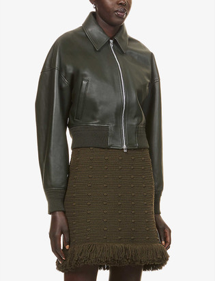 Bottega Veneta Collared zipped leather and wool-blend bomber jacket