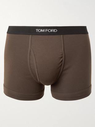 Tom Ford Stretch-Cotton Jersey Boxer Briefs - Men - Green