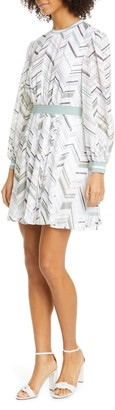Ted Baker Fleuura Everglade Chevron Stripe Long Sleeve Dress