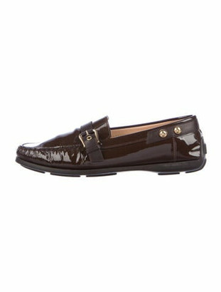 Louis Vuitton Monogram Patent Leather Loafers Brown