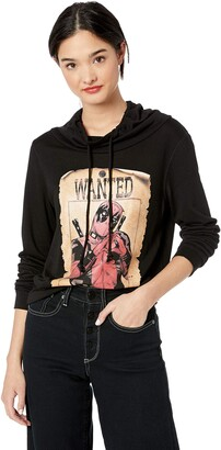 Marvel Black//Official Wanted Deadpool Junior's Long Sleeved Cowl Small