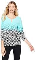 Calvin Klein Women's 3/4 Sleeve Printed Top With Bar