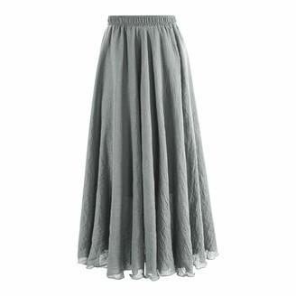LAEMILIA Women Bohemian Linen Full Circle Elastic Waist Band Cotton Long Maxi Skirt Dress Black