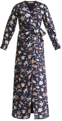 Paisie Winter Floral Maxi Wrap Dress In Winter Navy Floral Print