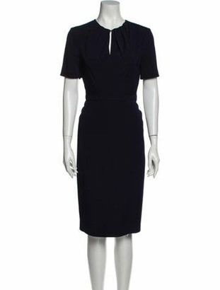 Burberry Crew Neck Midi Length Dress Blue