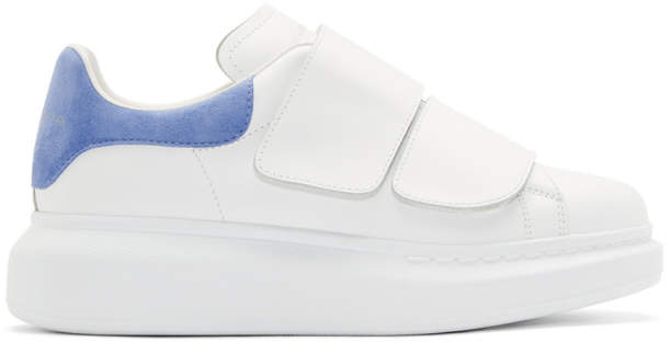 Alexander McQueen White and Blue Velcro Oversized Sneakers