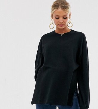 Asos DESIGN Maternity super oversized lightweight sweat with side splits in black