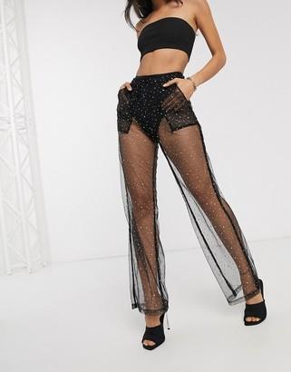 Public Desire trousers in sparkle mesh