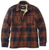 L.L. Bean L.L.Bean Signature Lined Wool-Blend Shirt Jacket, Slim Fit Plaid