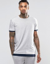 Asos Loungewear Skater T-shirt With Stepped Hem In Navy