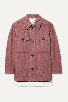 Etoile Isabel Marant Garvey Herringbone Wool-tweed Jacket - Burgundy
