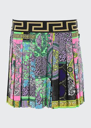 Versace Girl's Baroque Greek Key Pleated Skirt, Size 8-14