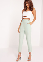 Missguided Buckle Detail Cigarette Trousers Green