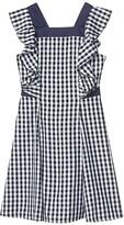 BCBGMAXAZRIA Girls Girls Gingham Cross-Back Ruffle Dress (Big Kids) (Dark Navy) Girl's Dress
