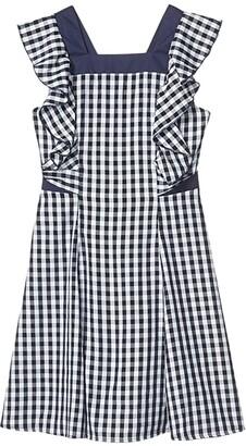 BCBG Girls Gingham Cross-Back Ruffle Dress (Big Kids) (Dark Navy) Girl's Dress
