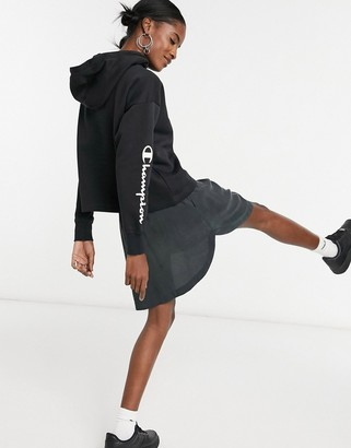 Champion cropped logo hoodie in black