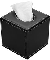 HOMETEK PU Leather Square Roll Tissue Box Holder Cover Napkin Paper Box Case Tray Pumping for Home Office Car Automotive (Black)