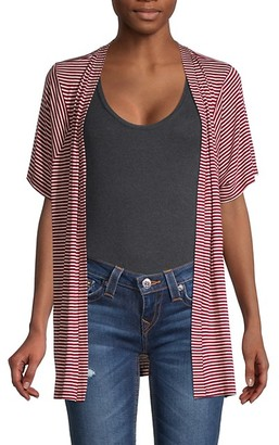 Bobeau Striped Open-Front Cardigan