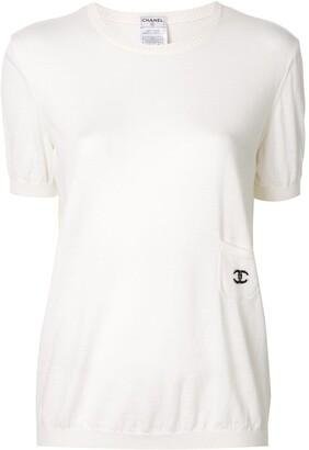 Chanel Pre Owned embroidered CC logo knitted top