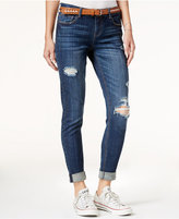 Vanilla Star Juniors' Belted Ripped Skinny Jeans