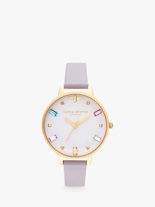 Olivia Burton OB16RB11 Women's Rainbow Bee Leather Strap Watch, Violet/White