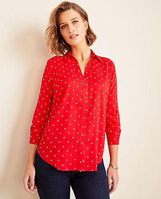 Ann Taylor Petite Dot Essential Shirt