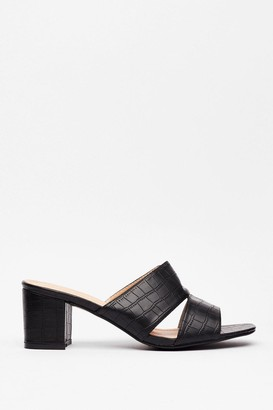 Nasty Gal Womens Mule Do Babe Croc Heeled Sandals - Black - 3