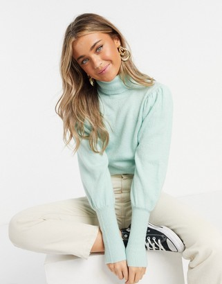 Urban Bliss roll neck cropped jumper in mint