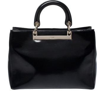 DKNY Black Leather Large Tote