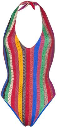 Etro Striped Metallic Halterneck Swimsuit