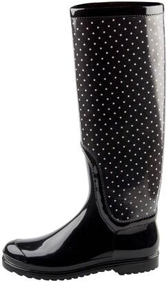 Dolce & Gabbana Black PVC Polka Dot Long Rain Boots Size 38