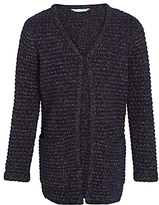 John Lewis Girls' Long Length Cardigan, Peacoat