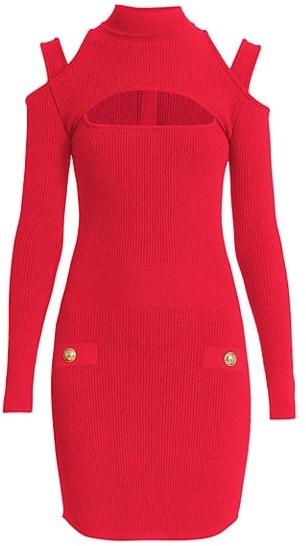 Balmain Cutout Rib-Knit Mini Dress