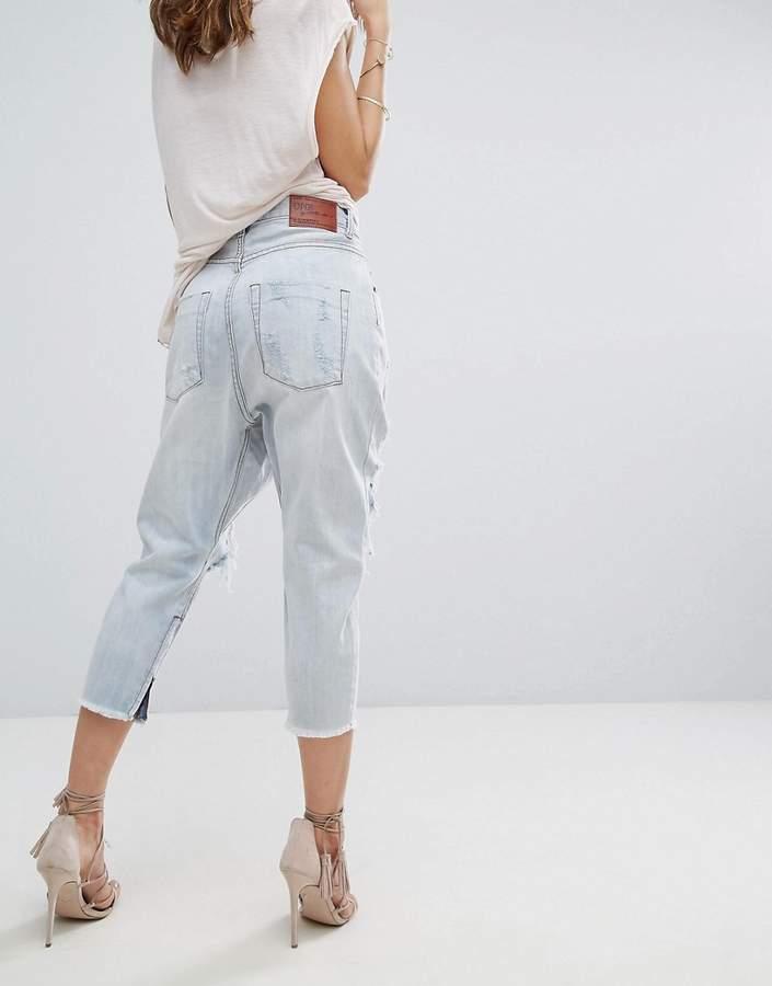 One Teaspoon Kingpins Low Waist Drop Crotch Straight Leg Jean With Rips