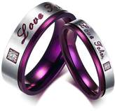 "Gnzoe Men's Women's Stainless Steel ""Love Token"" Engraved Rhinestones Couple Rings Wedding Bands, Size 5"
