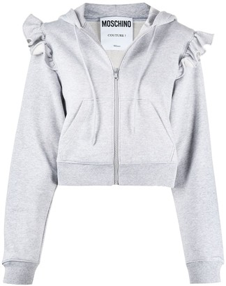 Moschino Cropped Frilled Shoulder Zipped Hoodie