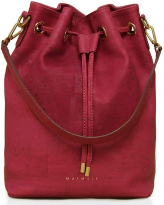Murmali Gamma Burgundy Bucket Backpack Vegan Sustainable Bag Handcrafted In Cork Fabric