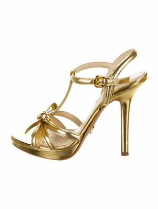 Prada Patent Leather T-Strap Sandals Gold