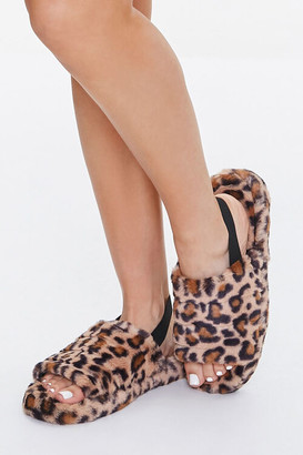 Forever 21 Faux Fur Leopard Print Indoor Slippers
