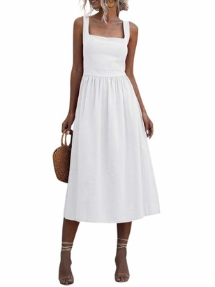 Walmeck- Women Dress Solid Color Square Neck Sleeveless High Waist A-Line Open Back Elegant Beach Party One-Piece White