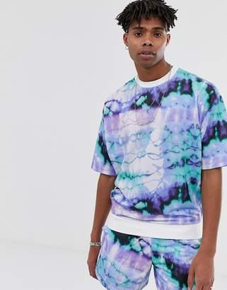 Asos Design DESIGN co-ord short sleeve oversized sweatshirt in tie dye-Blue