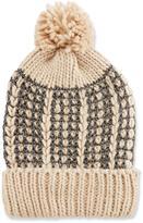 Neiman Marcus Metallic Woven Knit Pompom Hat, Cream/Silver