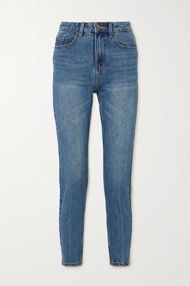 Ksubi Slim Pin Cropped High-rise Slim-fit Jeans - Mid denim