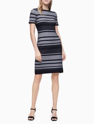 Calvin Klein Striped Sheath Sweater Dress