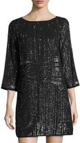Laundry by Shelli Segal Beaded 3/4-Sleeve Cocktail Dress, Gray Metallic